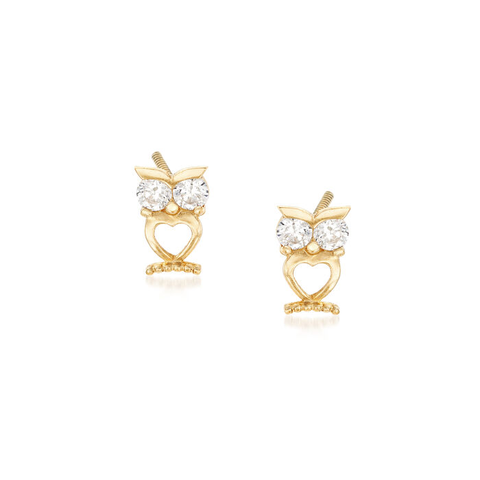 Child's .12 ct. t.w. Owl Stud Earrings in 14kt Yellow Gold, , default