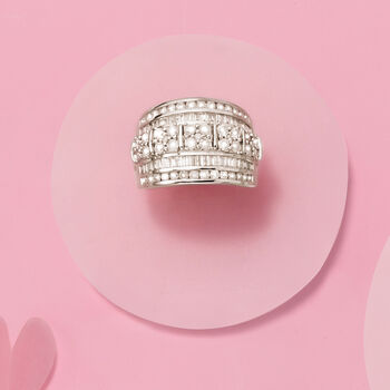 2.00 ct. t.w. Round and Baguette Diamond Multi-Row Ring in Sterling Silver, , default