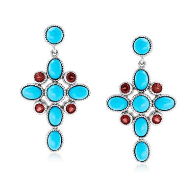 Turquoise and 1.00 ct. t.w. Garnet Cross Drop Earrings in Sterling Silver