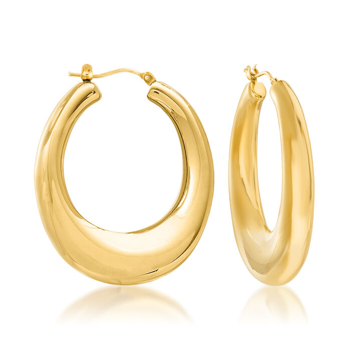 Italian Andiamo 14kt Yellow Gold Hoop Earrings. 1 1/2""