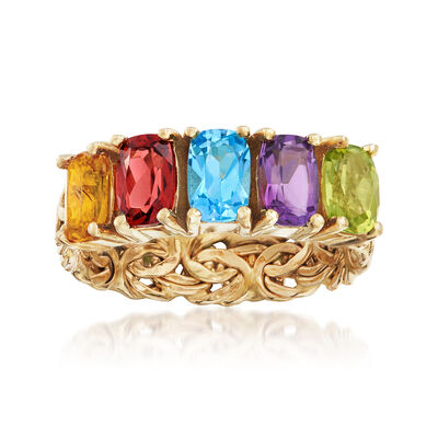2.60 ct. t.w. Multi-Gemstone Byzantine Ring in 14kt Yellow Gold, , default