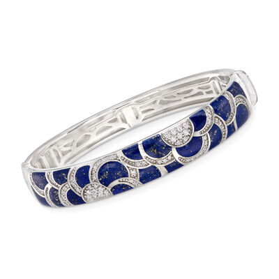 "Belle Etoile ""Adina"" Lapis and 1.00 ct. t.w. CZ Bangle Bracelet in Sterling Silver, , default"