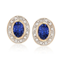 .80 ct. t.w. Tanzanite and .12 ct. t.w. Diamond Stud Earrings in 14kt Yellow Gold, , default