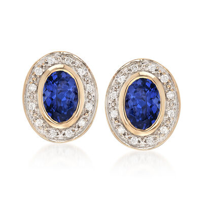 .80 ct. t.w. Tanzanite and .12 ct. t.w. Diamond Stud Earrings in 14kt Yellow Gold , , default