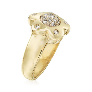 C. 1980 Vintage .75 ct. t.w. Diamond Flower Ring in 14kt Yellow Gold. Size 6.5
