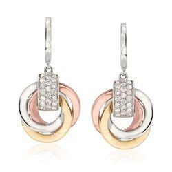 .62 ct. t.w. Diamond Triple-Drop Earrings in 14kt Tri-Colored Gold , , default