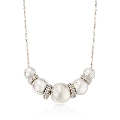 6-10mm Sterling Silver Bead Necklace with .20 ct. t.w. Diamonds, , default