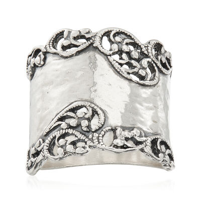 Sterling Silver Filigree-Edge Ring