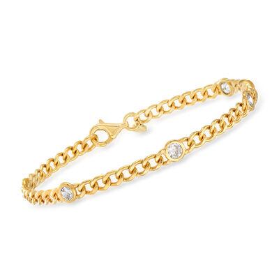 1.15 ct. t.w. CZ Station Curb-Link Bracelet in 18kt Gold Over Sterling, , default