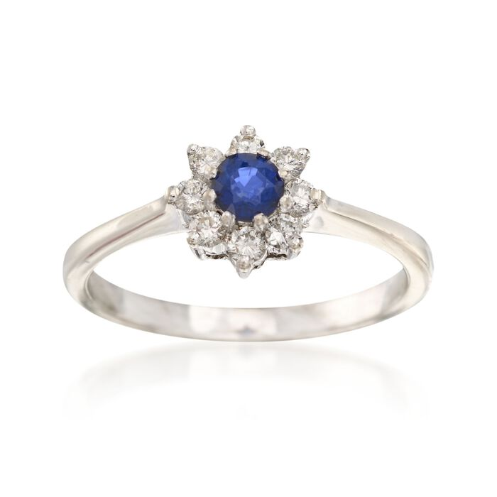 C. 2000 Vintage .25 Carat Sapphire and .25 ct. t.w. Diamond Ring in 14kt White Gold. Size 6.25, , default
