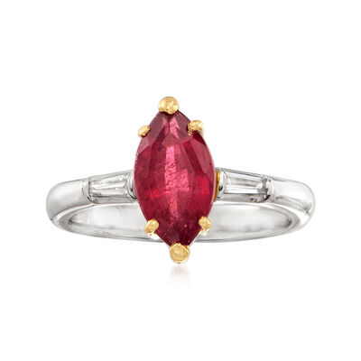 C. 1980 Vintage 1.72 Carat Pink Tourmaline and .11 ct. t.w. Diamond Ring in Platinum with 18kt Yellow Gold