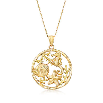14kt Yellow Gold Sea Life Pendant Necklace, , default