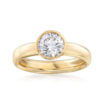 Italian 1.25 Carat Bezel-Set CZ Ring in 14kt Yellow Gold, , default