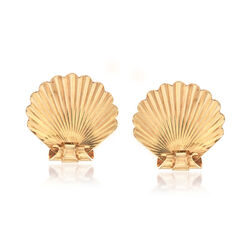 C. 1940 Vintage 14kt Yellow Gold Shell Non-Pierced Earrings, , default