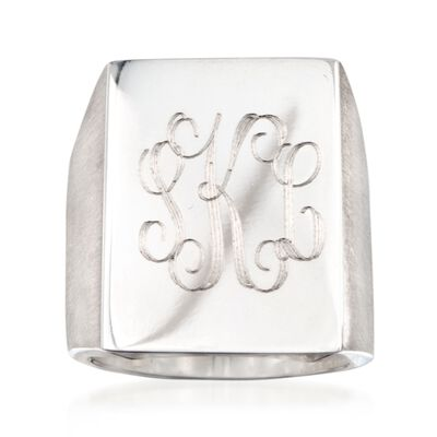 Sterling Silver Brushed and Polished Script Monogram Signet Ring, , default