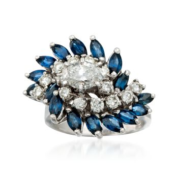 C. 1990 Vintage 2.40 ct. t.w. Sapphire and 1.55 ct. t.w. Diamond Cluster Ring in 14kt White Gold. Size 6, , default