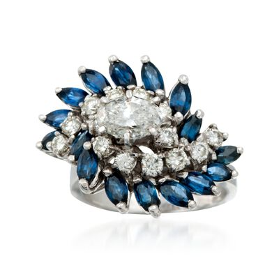 C. 1990 Vintage 2.40 ct. t.w. Sapphire and 1.55 ct. t.w. Diamond Cluster Ring in 14kt White Gold, , default