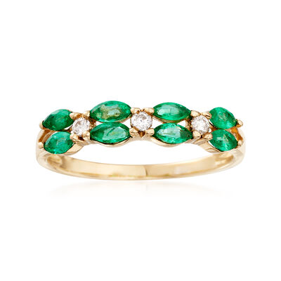 .60 ct. t.w. Emerald Ring with Diamond Accents in 14kt Yellow Gold, , default