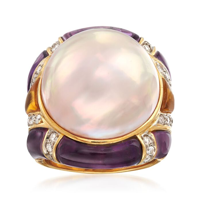 C. 1980 Vintage 18mm Mabe Pearl and Carved Multi-Stone Ring with .75 ct. t.w. Diamonds in 18kt Gold. Size 4.5