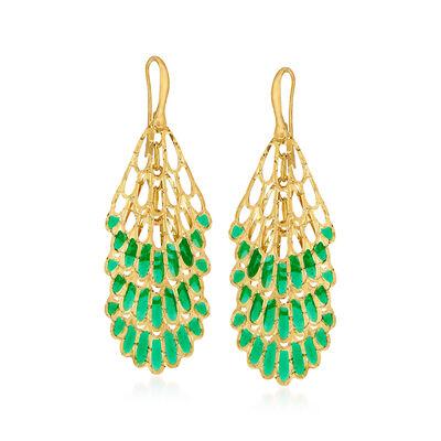 Italian 18kt Yellow Gold Cut-Out Drop Earrings with Green Enamel, , default