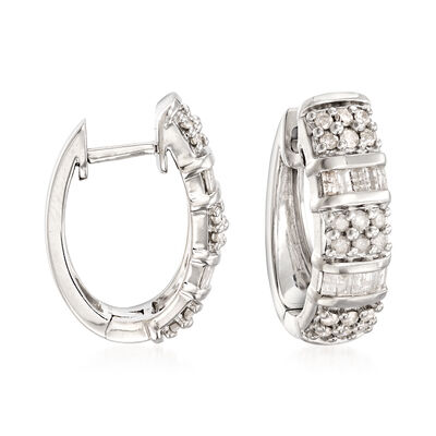 1.50 ct. t.w. Diamond Hoop Earrings in Sterling Silver