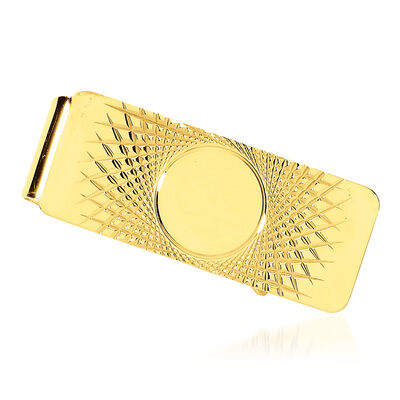 14kt Yellow Gold Polished Three-Initial Engravable Money Clip, , default