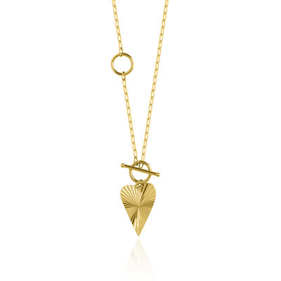 14kt Yellow Gold Diamond-Cut and Polished Heart Necklace