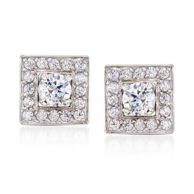 1.20 ct. t.w. CZ Jewelry Set: Stud Earrings and Earring Jackets in Sterling Silver, , default