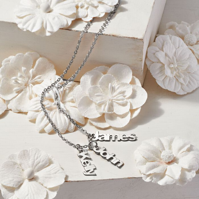 Sterling Silver Personalized Name Charm Necklace