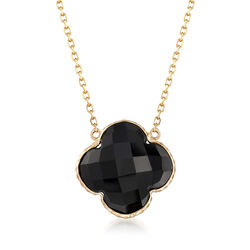 14mm Black Onyx Clover-Shaped Drop Necklace in 14kt Yellow Gold, , default