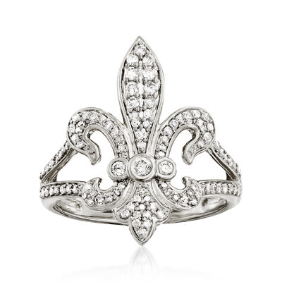 .50 ct. t.w. Diamond Fleur-De-Lis Ring in Sterling Silver