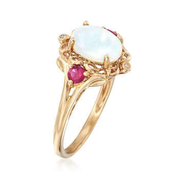 Opal and .20 ct. t.w. Ruby Ring with Diamond Accents in 14kt Yellow Gold