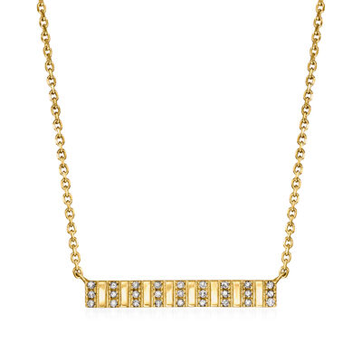 .10 ct. t.w. Diamond Bar Panel Necklace in 18kt Gold Over Sterling
