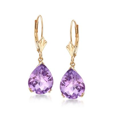 5.50 ct. t.w. Pear-Shaped Amethyst Earrings in 14kt Yellow Gold, , default