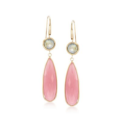 Italian Pink Chalcedony and Labradorite Drop Earrings in 18kt Yellow Gold , , default