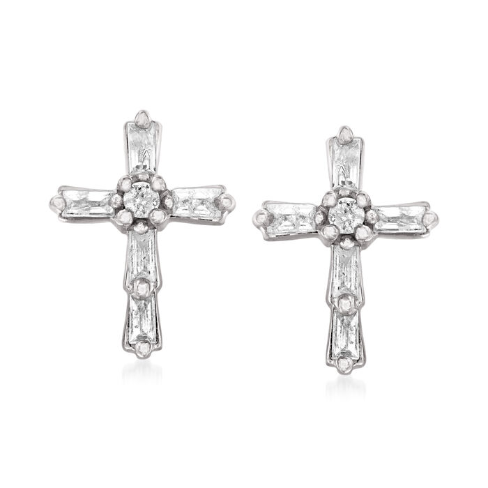 .22 ct. t.w. Baguette and Round Diamond Cross Earrings in Sterling Silver