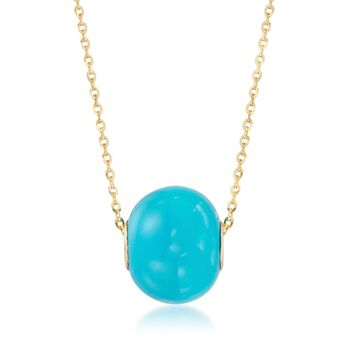 16mm Simulated Turquoise Bead Pendant in 14kt Gold, , default