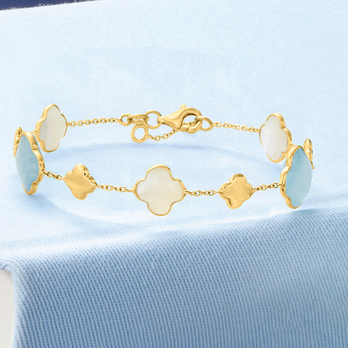 Italian 9mm Mother-Of-Pearl and 5.00 ct. t.w. Aquamarine Clover Station Bracelet in 14kt Yellow Gold