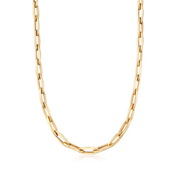 Italian 14kt Yellow Gold Oval-Link Necklace, , default