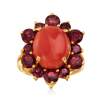 C. 1980 Vintage Red Jade and 3.30 ct. t.w. Garnet Ring in 14kt Yellow Gold