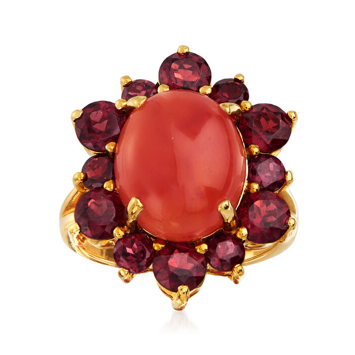 C. 1980 Vintage Red Jade and 3.30 ct. t.w. Garnet Ring in 14kt Yellow Gold. Size 6