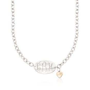"""Sterling Silver Monogram Oval Necklace With 14kt Yellow Gold Heart Charm. 18"""", , default"""