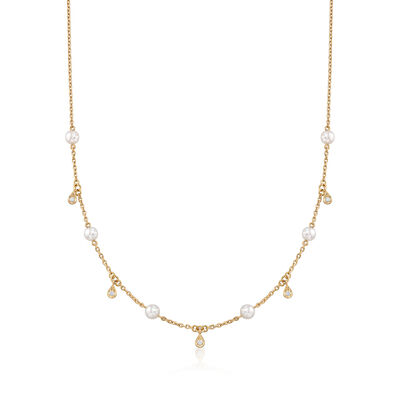 Mikimoto 4.5mm A+ Akoya Pearl Station Necklace with .11 ct. t.w. Diamonds in 18kt Yellow Gold