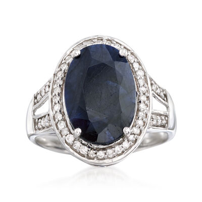 6.50 Carat Sapphire and .25 ct. t.w. Diamond Ring in 14kt White Gold, , default