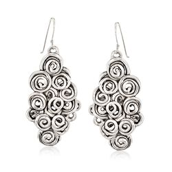 Sterling Silver Multi-Spiral Drop Earrings, , default
