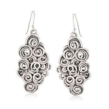 Sterling Silver Multi-Spiral Drop Earrings , , default