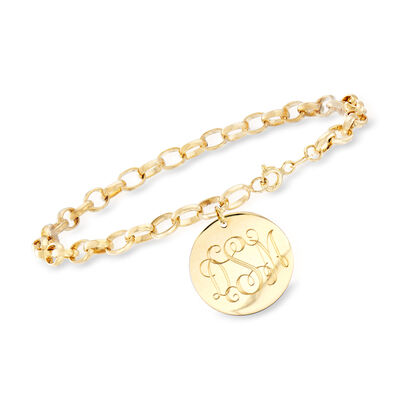 Personalized Cable-Link Bracelet in 14kt Yellow Gold, , default