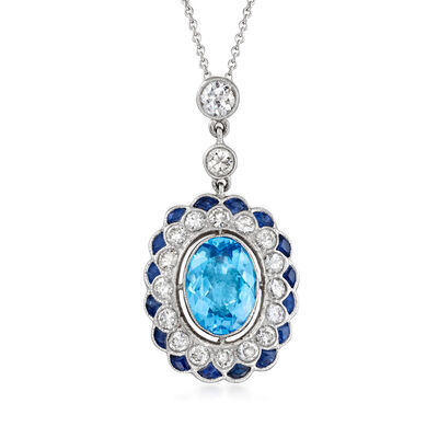 C. 1990 Vintage 3.50 Carat Swiss Blue Topaz, 1.40 ct. t.w. Sapphire and 1.40 ct. t.w. Diamond Pendant Necklace in 18kt White Gold