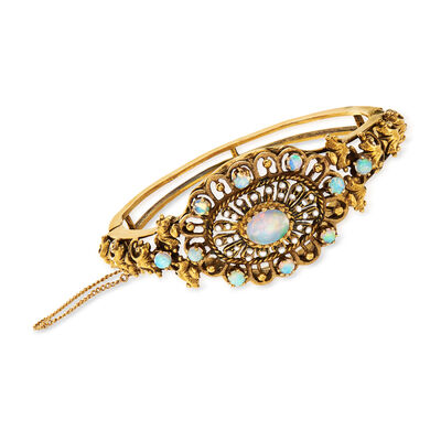 C. 1980 Vintage Opal and Seed Pearl Openwork Bangle Bracelet in 14kt Yellow Gold