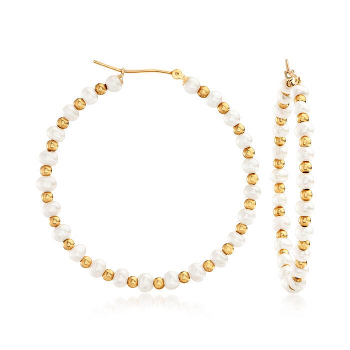 3-4mm Cultured Pearl Hoop Earrings in 14kt Yellow Gold